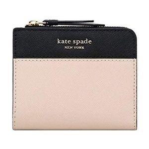 Kate Spade Beige Black Cameron L-Zip Bifold Wallet
